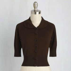 ModCloth Generous to a Malt Cardigan in Cocoa
